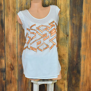 Sundance Beaded Sequin Shirt Top Tank